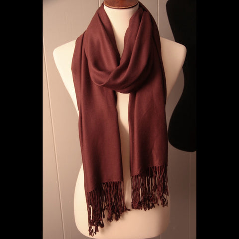 Long Mocha Brown Vintage Scarf