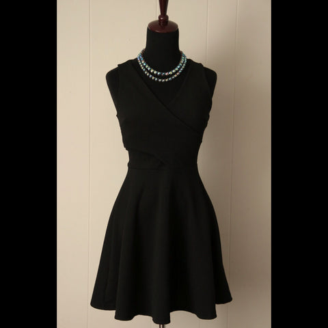 Black Sleeveless Faux Wrap Dress (S)