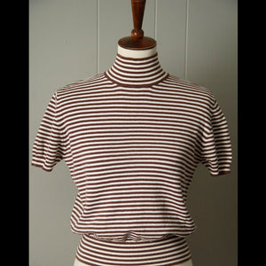 Brown & White Striped Vintage Turtleneck (M/L)