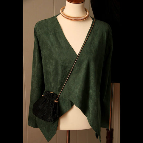 Hunter Green Faux Suede Angle Vintage Jacket (S/M)