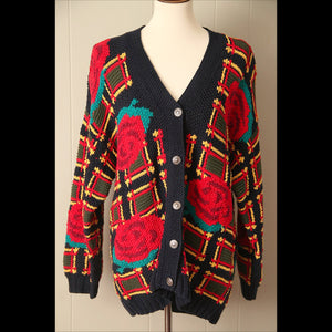 Navy Multi-Color Vintage Cardigan Sweater (S/M)