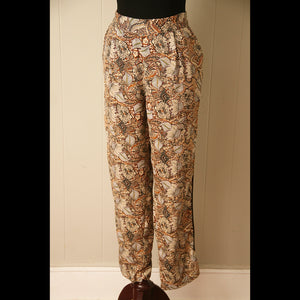 Brown Floral Vintage Pants (L)