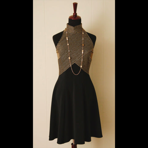 Sleeveless Black & Gold Vintage Party Dress (M)