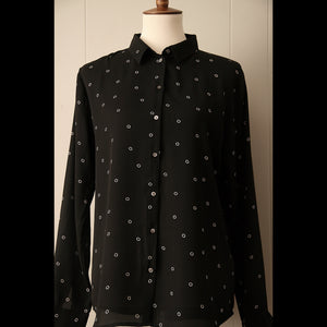 Black and White Circle Dot Vintage Blouse (L/XL)