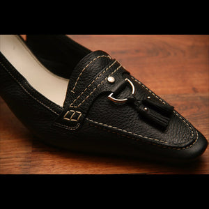 Black Leather Slingback Vintage Heel (9)