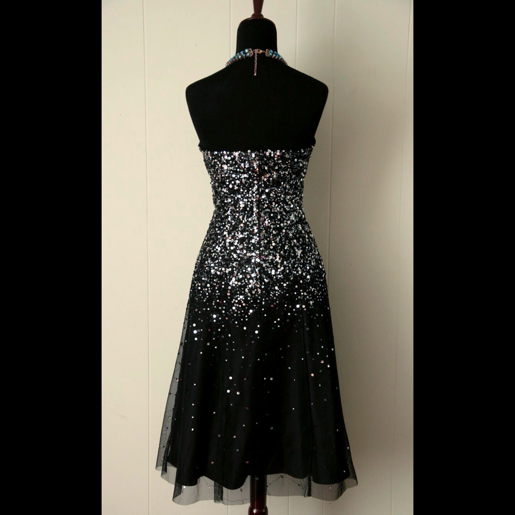 Black & Silver Sequin Vintage Party Dress (S/M)