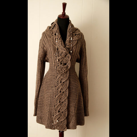 Chestnut Brown Flower Cardigan Vintage Sweater (L)