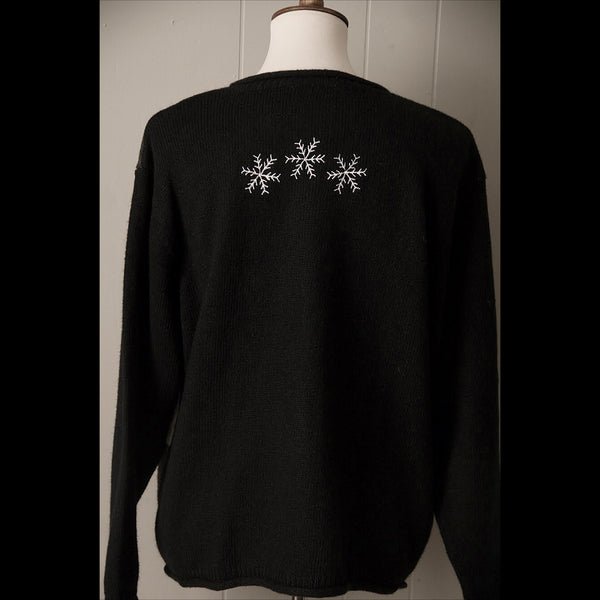 Black Winter Skater Plush Vintage Cardigan Sweater (L/XL)