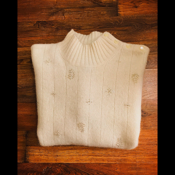Beige Lambswool Pearl Studded Vintage Sweater (XL)