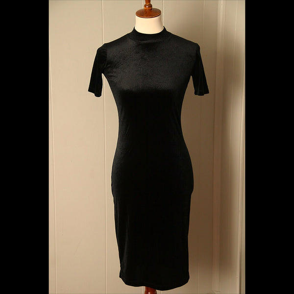 Black Velour Midi Vintage Dress (S)