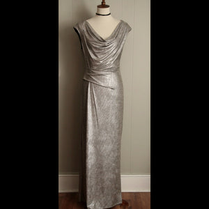 Silver Faux Wrap Vintage Maxi Dress (M/L)