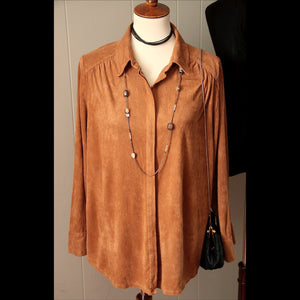 Faux Suede Camel Button Vintage Top (M/L)