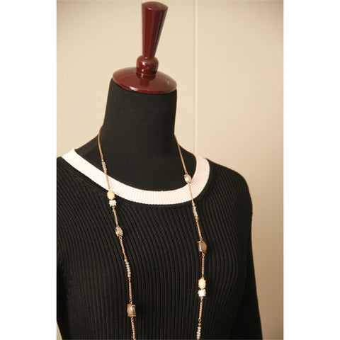 Black & White Vintage Ribbed Sweater Dress (S)