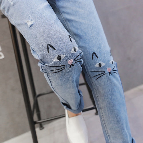 Kitten Stitch Straight Maternity Jeans