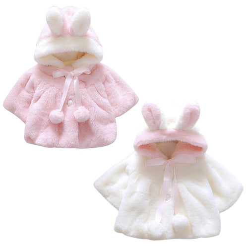 Girls Faux Fur Thickened Rabbit Eared Coat