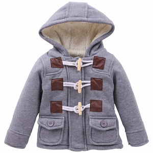 Wooden Peg Button Hooded Jacket with Pockets