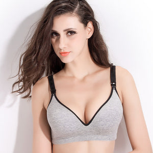 Cotton Wire Free Front Buckle Maternity Nursing Bra