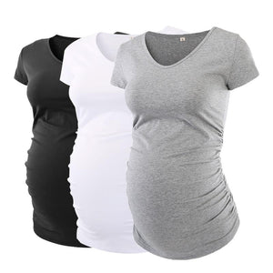 Pack of 3 Maternity V-Neck Side Ruched Maternity T-Shirts