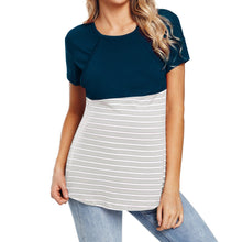 Load image into Gallery viewer, O-Neck Maternity Striped Nursing T-Shirt