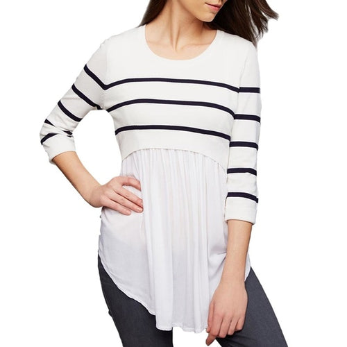 O-Neck Long Sleeved Striped Blouse