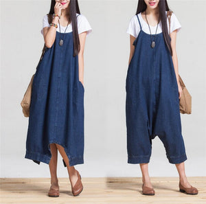 Oversized Loose Low Drop Denim Jumpsuit