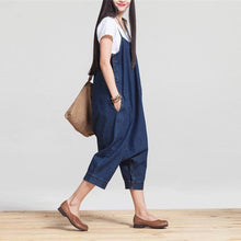 Load image into Gallery viewer, Oversized Loose Low Drop Denim Jumpsuit