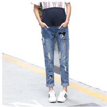 Load image into Gallery viewer, Mouse Patterned Ripped Loose Maternity Jeans