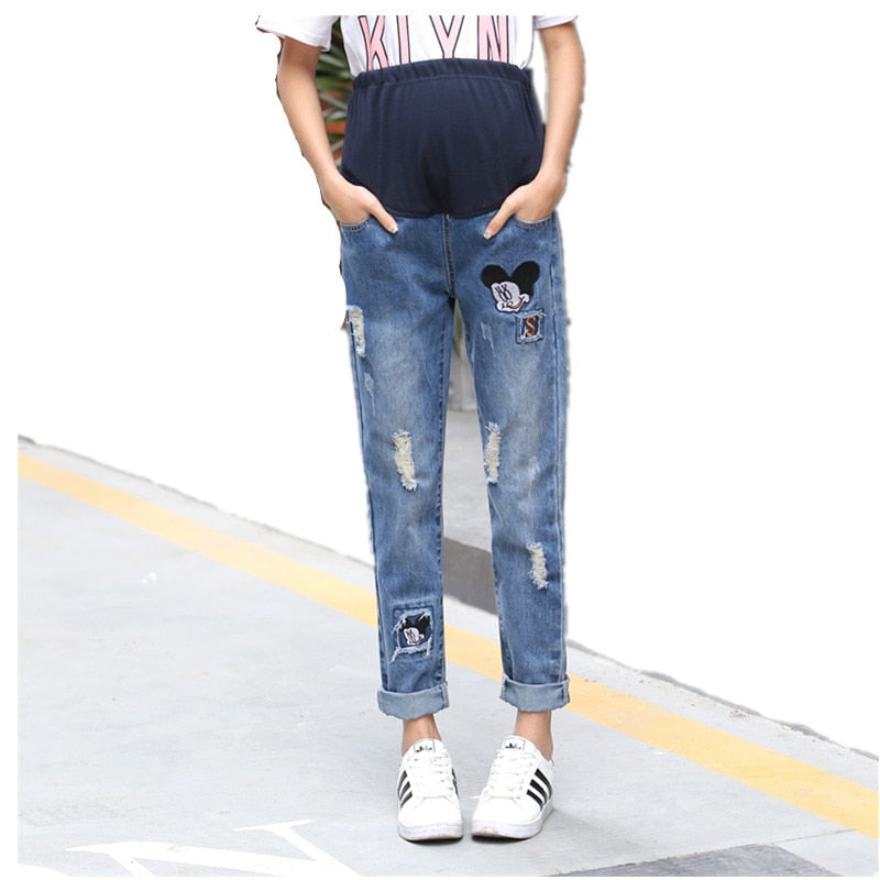 Mouse Patterned Ripped Loose Maternity Jeans