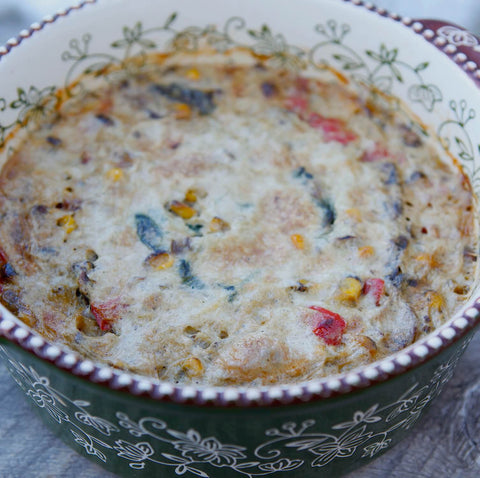 Corn & Vegetable Pudding in a Serving Dish