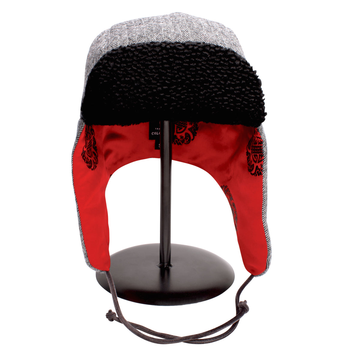 """1876"" Hat - Black & White Wool With Red Lining"