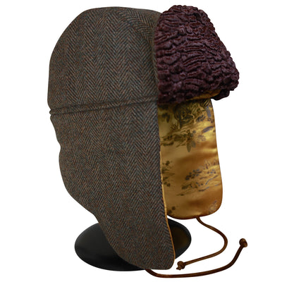 """1876"" Hat - Green-Brown Wool-Cashmere With Gold Lining"