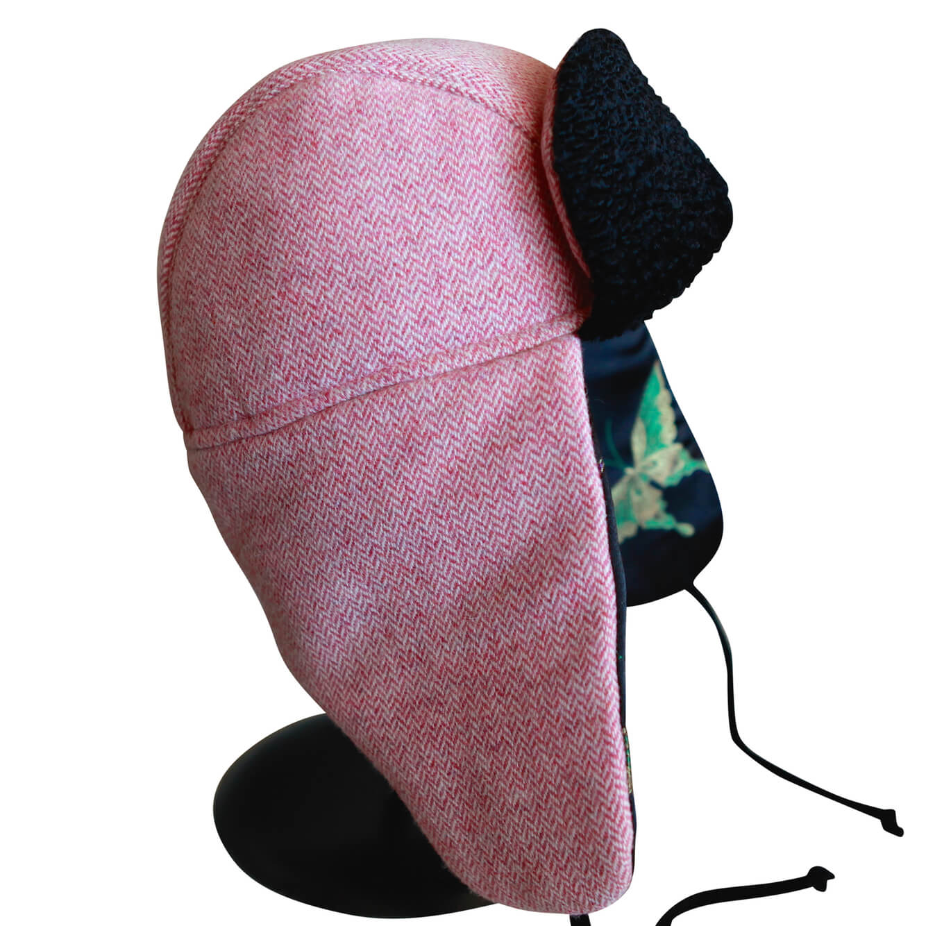 """1876"" Hat - Pink-Cream Wool With Black-Multi Butterfly Lining"
