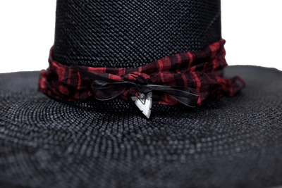 """High Noon"" Hat - Black Straw with Red Silk Band & Silver Arrowhead Pendant"