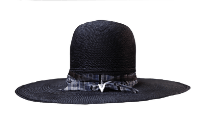 """High Noon"" Hat - Black Straw with Blue Silk Band & Silver Arrowhead Pendant"