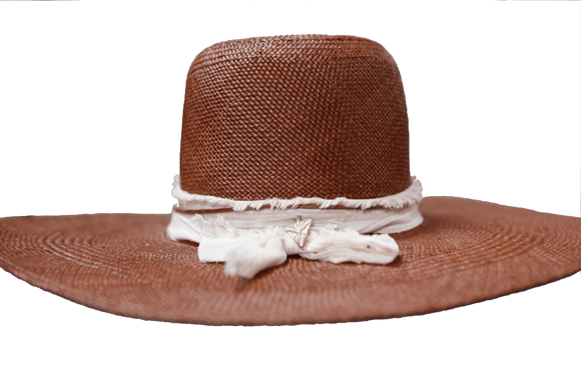 """High Noon"" Hat - Brown Straw with Yellow Striped Cotton Band & Gold Arrowhead Pendant"