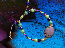 Load image into Gallery viewer, Leather adjustable bracelet with Druzy Agate crystal stone