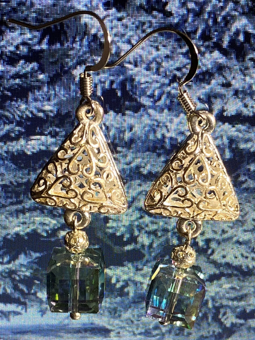 Christmas tree silver earrings with crystals