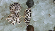 Load image into Gallery viewer, Silver beaded bracelet with matching earrings and elephant and celtic charm