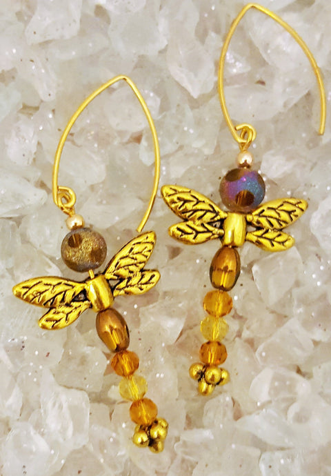 Gold dragon fly earrings