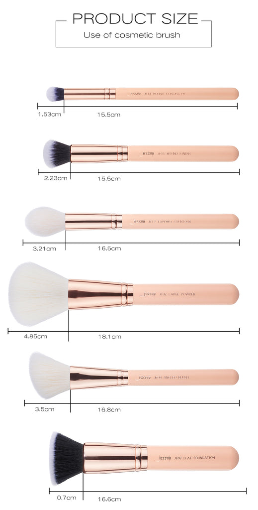 Jessup Nude Pink / Rose Gold 6 Piece Face Makeup Brush Set