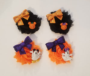 Halloween Mickey and Minnie Flower Hair clips