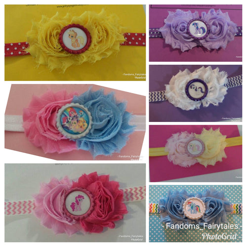 My Little Pony Inspired  Headband - Shabby Chic Headband - Choose your character