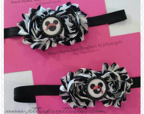 Pirates of the Carribean Inspired Mickey Shabby Chic Headband