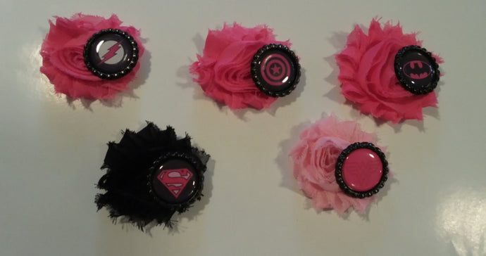 PInk Superhero Flower Hair clips