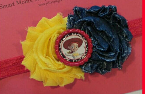 Hey Howdy Hey! Choose Woody or Jessie Flower Headband