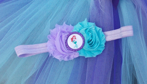 Ariel Flower Headband Aqua and Lavender