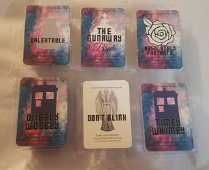 Doctor Who Inspired Wax Melts - Don't Blink, Runaway Bride, Dalektable, Wibbly Wobbly , Timey Whimey, Absolutely Fanatastic