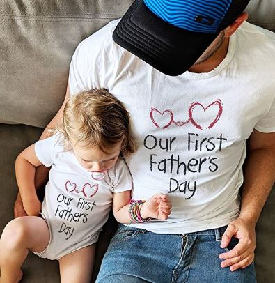First Father's Day Dad & Baby Matching Set Infant Bodysuit & Men's T-Shirt