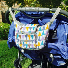 Load image into Gallery viewer, Baby Stroller Organizer & Diaper Bag - Camanda Baby - purple and blue stroller bag with blue stroller