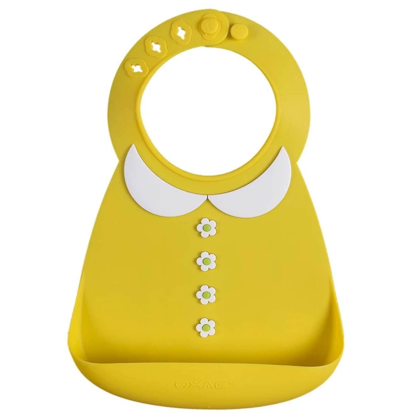 Waterproof Silicone Baby Food-Grade Bibs - Yellow Buttons - Camanda Baby